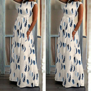 Women's Ladies Feather Print Sleeveless Ankle Length Dress Long Maxi Dress Robe Ete Tropical Beach Vintage Maxi Dresses#35(China)