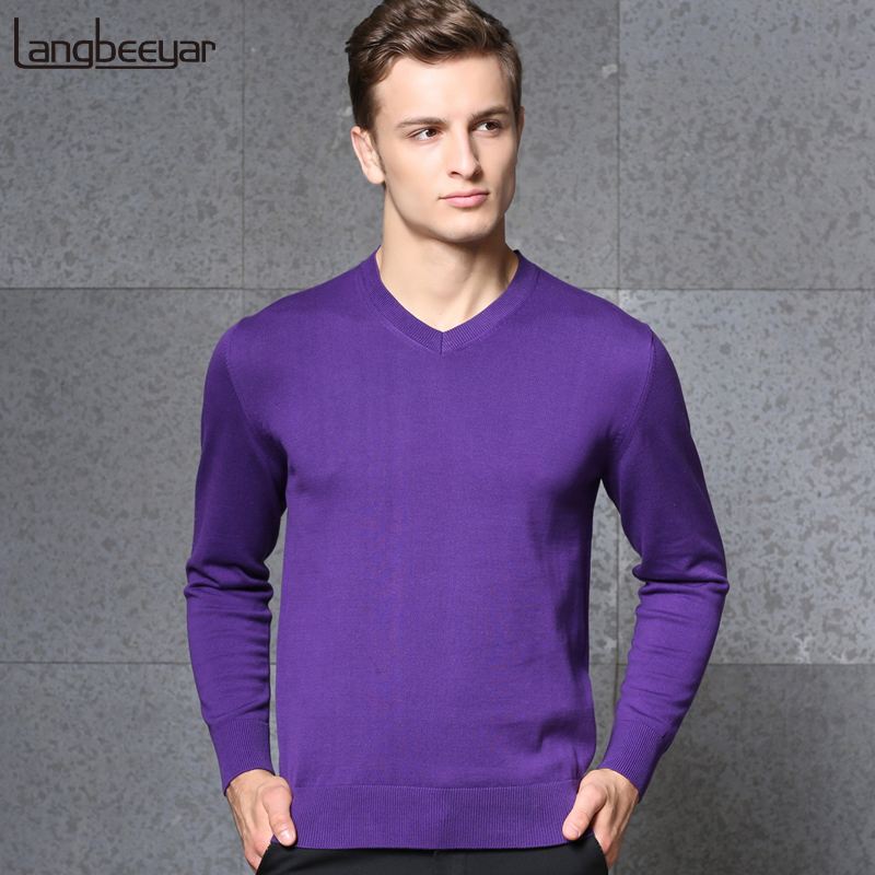 2019 New Fashion Brand Sweater Mens Pullovers V Neck Slim Fit Jumpers Knit Solid Color Autumn Korean Style Casual Men Clothes
