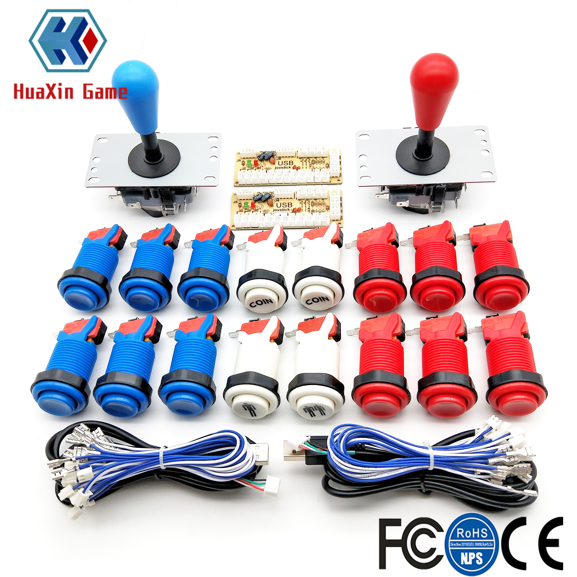 Arcade DIY KIT American Style SANWA Joystick HAPP Type COIN 2 Player Push Button With Micro Switch And Zero delay encoder For PC(China)
