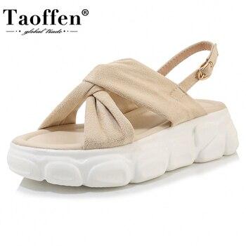 TAOFFEN grande taille 29-43 femmes sandales plate-forme bout ouvert femmes chaussures boucle cheville sangle élastique loisirs ajustement quotidien chaussures