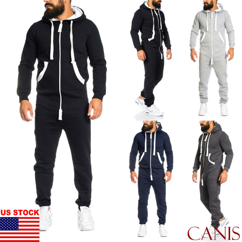 Mens Tracksuit Jogging Hoodie Coat Pants One Piece Jumpsuit Sport Gym Sweat Suit