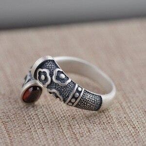 Image 3 - Gqtorch vitnage thai anel de prata 925 anéis de prata esterlina para as mulheres incrustado vermelho granada natural flor de pedra preciosa gravado grenat