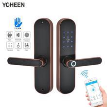 YOHEEN замок отпечатков пальцев смарт-карта цифровой код электронный дверной замок Bluetooth TTLock приложение врезной замок безопасности