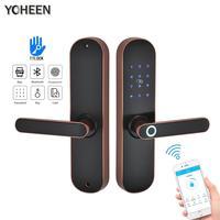 YOHEEN Fingerprint Lock Smart Card Digital Code Electronic Door Lock Bluetooth TTLock App Security Mortise Lock