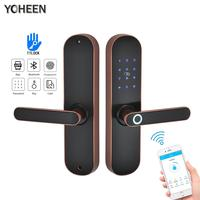 YOHEEN Fingerprint Lock Smart Card Digital Code Electronic Door Lock Bluetooth TTLock App Security Mortise Lock