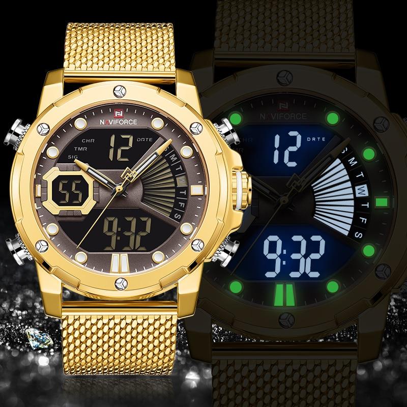 NAVIFORCE Luxury Brand Gold Business Watches Mens Stainless Steel Quartz Watch Men Waterproof Sport Male Clock Relogio Masculino