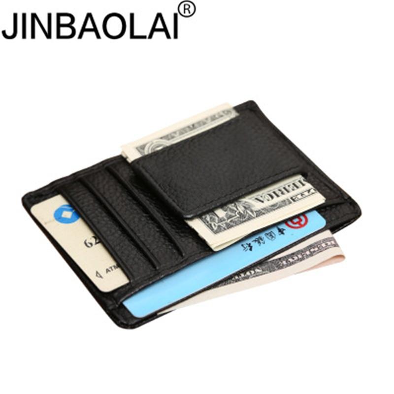 Jinbaolai couro genuíno clipe de dinheiro dos homens pacote de cartão fino contas clipes de dinheiro braçadeira para dinheiro fino carteira de clipe de dinheiro