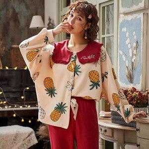Image 4 - 2019 inverno pijamas feminino coreano 2 pçs pijamas conjunto de pijama femme manga longa algodão kawaii plus size pijamas mujer sleep lounge