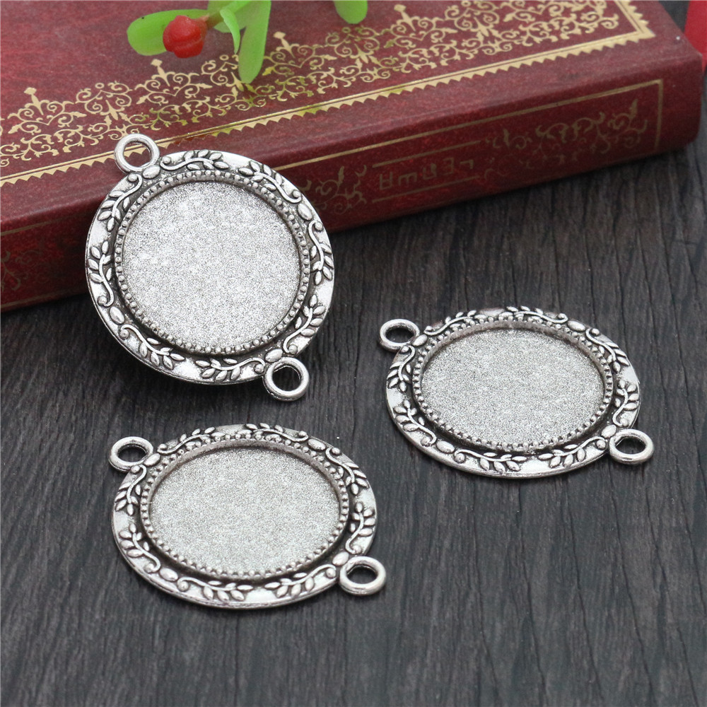 10pcs 20mm Inner Size Antique Silver Classic Style Cabochon Base Setting Charms Pendant (D1-33)