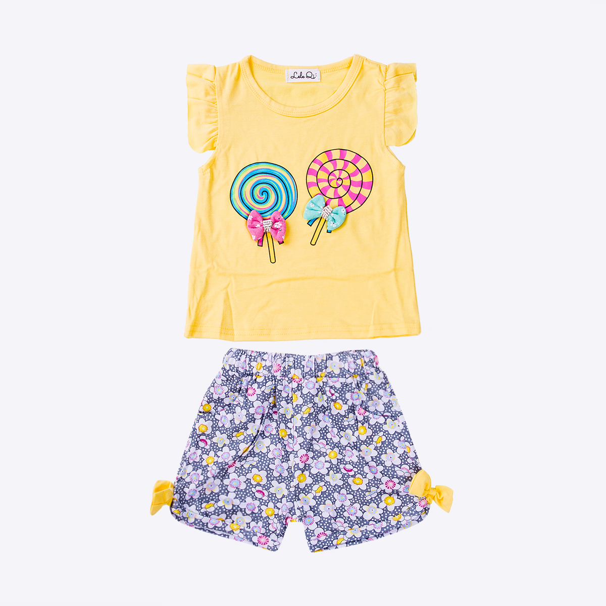 Top Lollipop Toddler Baby Floral-Shorts Girl 2pcs Sweet Print Ruffled Cute