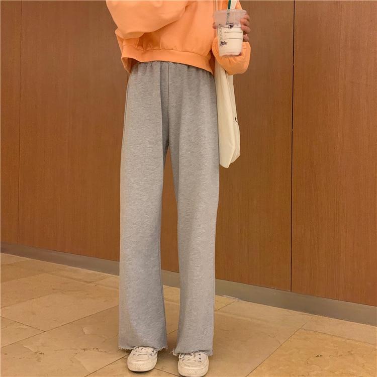 Heb18bbe924b5422998c7f9bdb50479eai - Autumn / Winter High Waist Elastic Broadcloth Straight Solid Pants