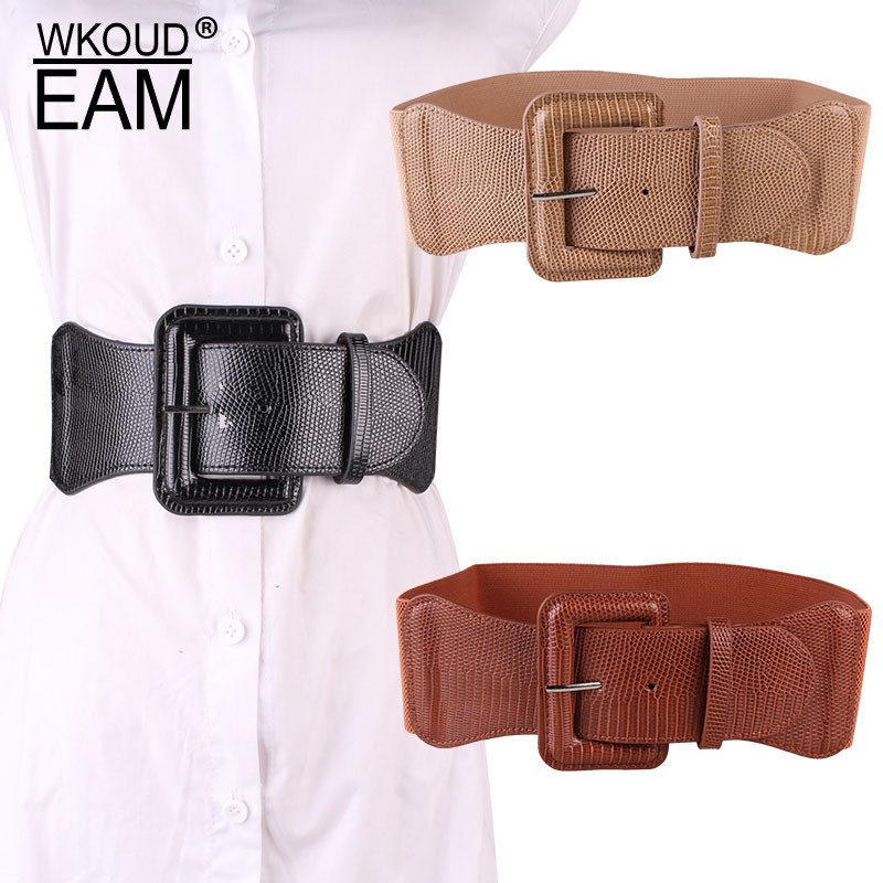 WKOUD EAM 2020 New Simple Wild Square Buckle Elastic Waistband Women Korea Dress Leather Belt Lady Tide PE220