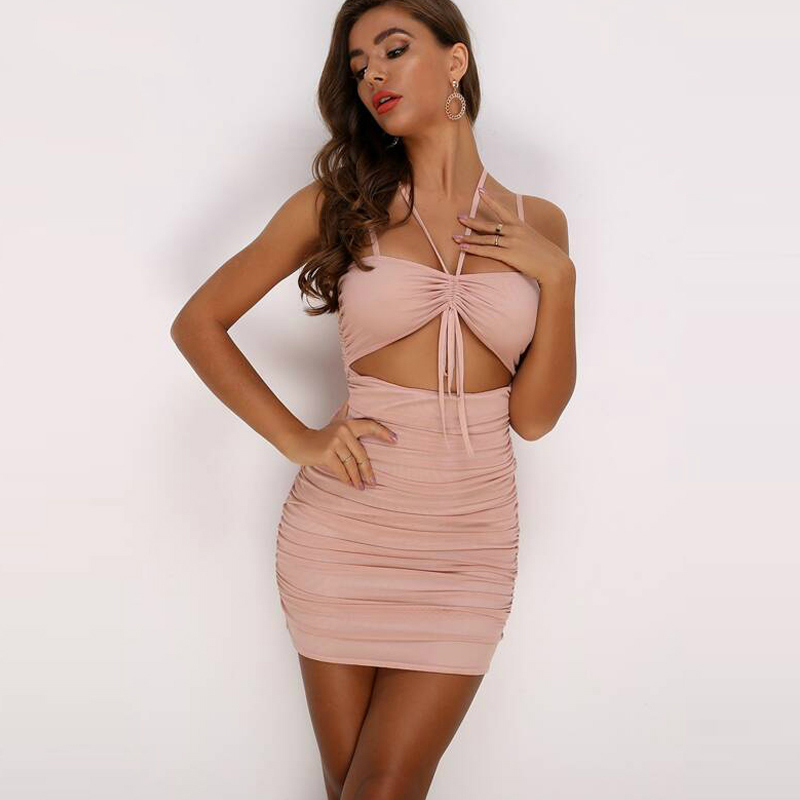 Holllow Out Bodycon Party Summer <font><b>Dress</b></font> Pleated <font><b>Sexy</b></font> <font><b>Dress</b></font> Women <font><b>Spaghetti</b></font> <font><b>Strap</b></font> Slim Backless <font><b>Casual</b></font> Party Clubwear image