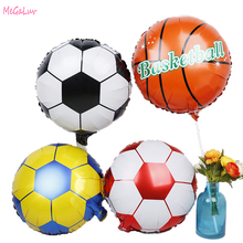 5Pcs 18Inch Soccer Aluminum Foil Balloons Round Football Basketball Globos For Birthday Party World Cup Party Decoration