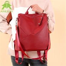 Classic Women Multifunction Backpacks Fashion Lady Shoulder Bag Pu Leather Large Ladies Backpack Ladies Leisure Travel Knapsack