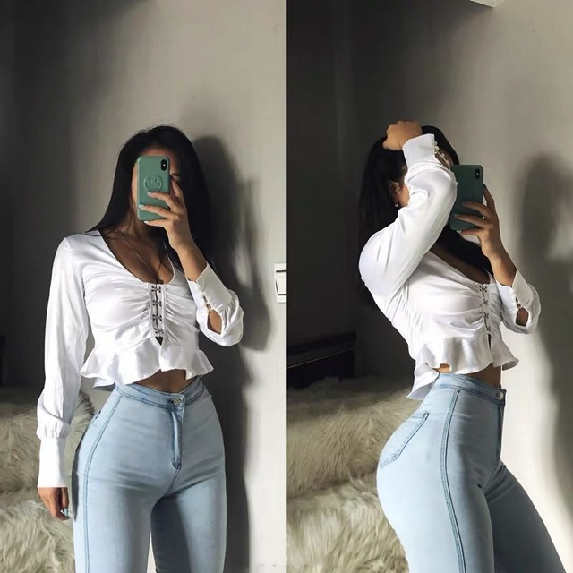 High waisted jeans women spring   1