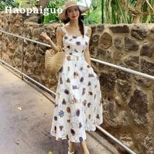 Big Swing Summer Print Floral Dress Women Sleeveless Corset Loose Casual Long Dress Women Modis Streetwear Flower Dresses Ladies