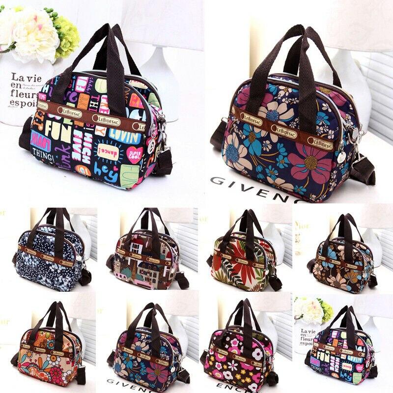 Fashion Women Girls Bag Waterproof Nylon Zipper Shoulder Bag Travel Tote Purse Shopping Bags