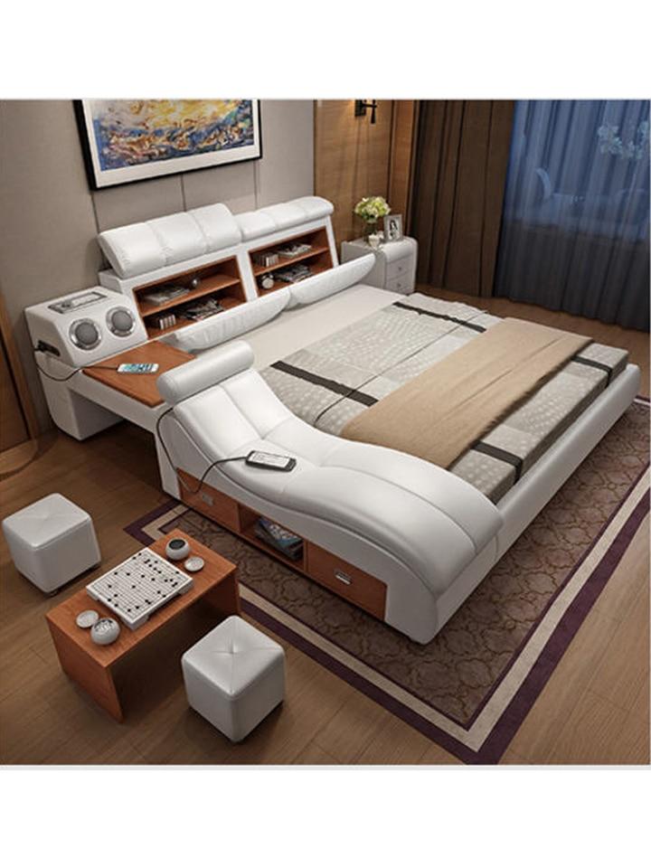 Genuine Leather Bed Frame Soft Beds Massager Storage Safe Speaker Led Light Bedroom Cama Muebles De Dormitorio Camas Quarto Beds Aliexpress