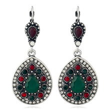 Vintage bohemian ethnic style fashion ancient silver color drop earrings new ladies jewelry