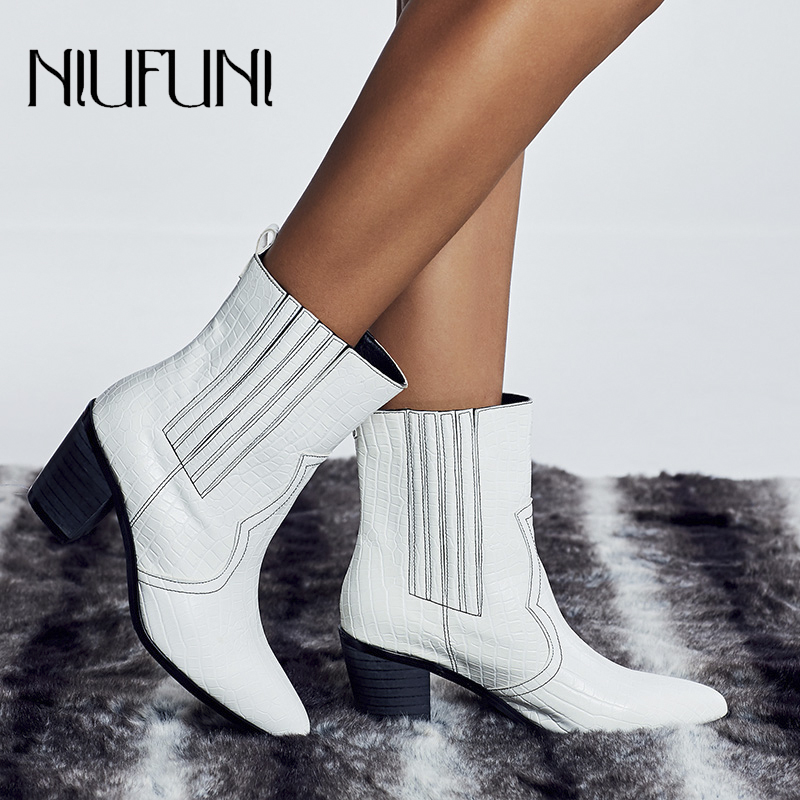 NIUFUNI Solid color Pointed Toe Women's Ankle Boots Sleeve Soft Chelsea Boots Plus Size 35-42 Martin Boots Low Heel Women Shoes