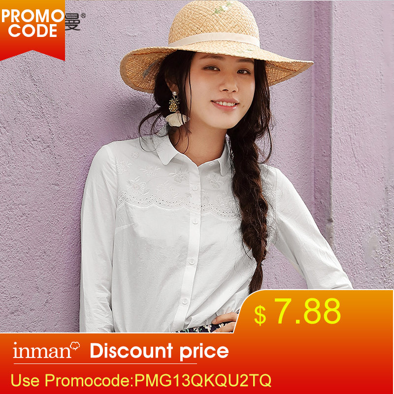 INMAN 2019 Spring Clothes Cotton Lapel Embroider Long Sleeves Blouse Women Shirt Women