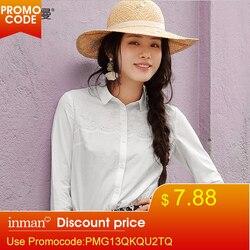 INMAN 2019 Spring Clothes Cotton Lapel Embroider Long Sleeves Blouse Women Shirt Women