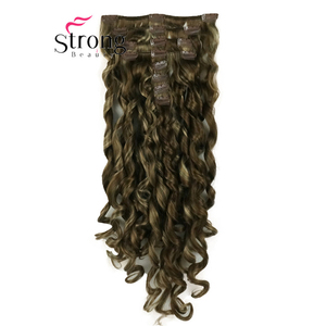 """Image 3 - StrongBeauty 20"""" Wavy Full Head Synthetic Heat Resistance Hair Extensions Clip on in Hairpieces 8pcs 260g"""