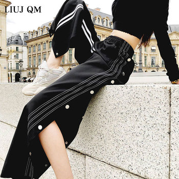 Autumn Woman Pants Side Stripe Stitching  Plus Size 4XL Split Button Wide Leg Streetwear Women Loose Casual Hip-hop Track Pants stripe contrast split pants