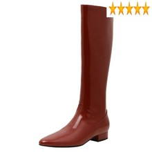 Czerwony Patent długie buty damskie szpiczasty nosek Party kolana wysokie buty zimowe moda prawdziwej skóry rycerz kobiet tanie tanio SICCSAEE CS (pochodzenie) Podkolanówki Szycia Stałe Plac heel Podstawowe Skóra bydlęca Zima Świńskiej Med (3 cm-5 cm)