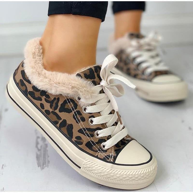 Winter Women Leopard Sneakers Canvas Ankle Vulcanised Shoes Platform Short Plush Fur Warm Ladies Lace Up Zapatos De Mujer