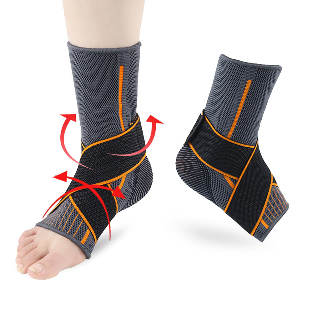 1pc Protector Strap Striped Sprain Prevention Ankle Support Elastic Nylon Breathable Sports Brace Warm Magic Sticker Gym Running