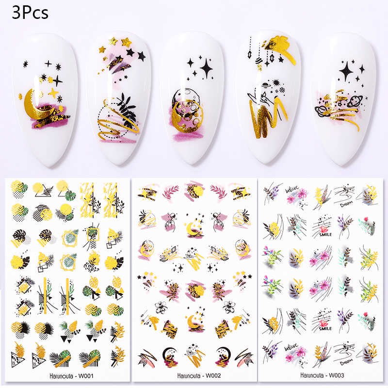 3Pcs Harunouta Gold Water Nail Stickers Zomer Bloem Blad Water Decals Slider Nail Folie Wraps Transfer Sticker Decorarion