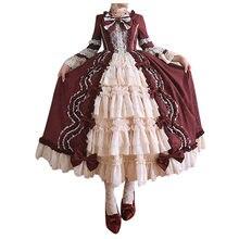 Robe Cosplay princesse Lolita pour femmes, Vintage, mode gothique, col carré, Patchwork, nœud papillon, robes de vacances élégantes