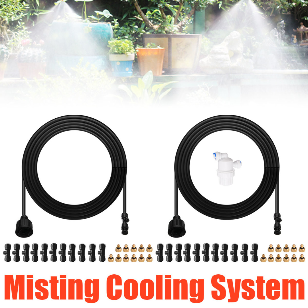 Mayitr 30ft Misting Cooling System Kit Outdoor Garden Greenhouse Patio Waterring Irrigation Sprayers