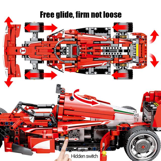 585PCS City DIY Remote Control Racing Car Bricks Technic RC F1 Equation Car Model Building Blocks Toys For Children Gift