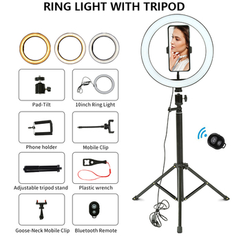Professional Ring Light 26cm Youtuber Camera Photography Right Light With Tripod Ring Lamp Stand LED Ring Light Photo Studio
