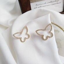 S925 милые корейские серьги бабочки популярный стиль Изящные
