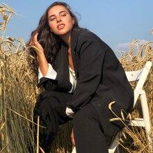 سترة أنيقة للسيدات باللون الأسود برسومات واحدة من hzerip لعام 2020 سترة أنيقة كلاسيكية فضفاضة للعمل ملابس خارجية للنساء