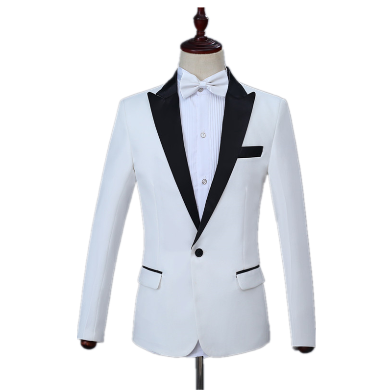Men's Business Suit Set 2 Piece Set With /without Notch Black Lapel White Slim Suit (Jacket+Pant) Banquet Wedding Costume Set