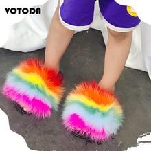 Summer Kids Real Fox Fur Slides Children Furry Raccoon Slippers Baby Indoor Home Sandals Fluffy Beac