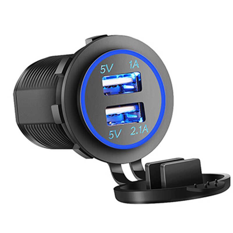 Carregador 3.1a usb do carro para a motocicleta caminhão automóvel atv barco led luz dupla tomada usb carregador adaptador de energia tomada energia