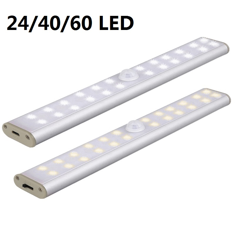 24/40/60 lámpara de noche con Sensor de movimiento PIR de luz LED para debajo de gabinete, lámpara recargable USB para armario, lámpara de armario, Dropshipping