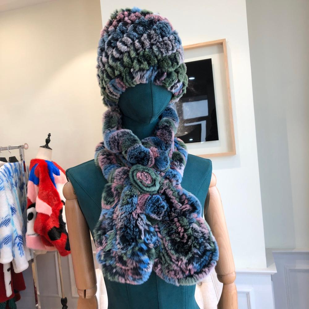 2019 tricoté hiver Rex fourrure de lapin chapeaux foulards femmes mode 100% véritable fourrure casquettes foulards ensembles