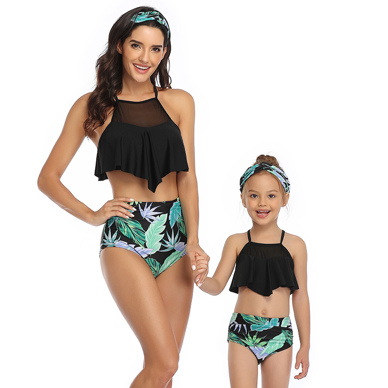 2020 Mother Daughter Swimsuit Mommy And Me Swimwear Clothes Family Matching Outfits Look Women Girls Mom Mum And Baby Bath Suits