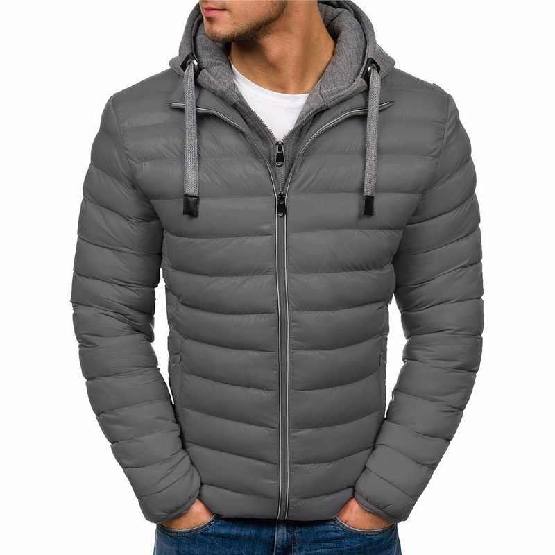 SHUJIN 2019 Men Casual Hooded Parka ฤดูหนาวแจ็คเก็ตผู้ชายแฟชั่น Patchwork ผ้าฝ้ายเบาะ Slim หนาอบอุ่น Outwear