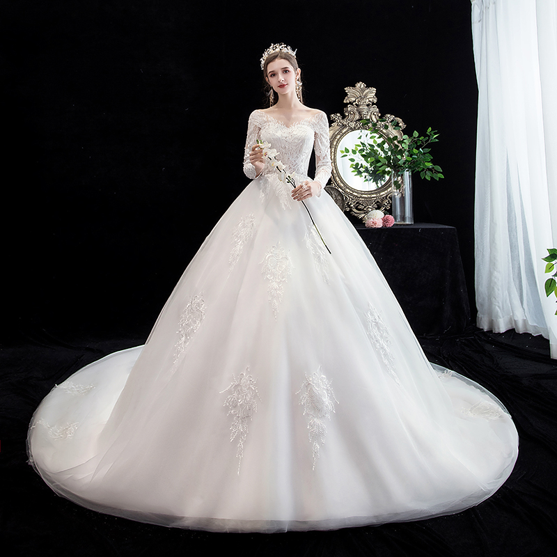 Mrs Win Wedding Dress 2020 Luxury Full Sleeve Sexy V-neck Court Train Ball Gown Princess Lace Wedding Dresses Custom Size