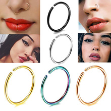 Nostril Piercing Ring Hoop Fake-Earrings Labret-Lip Septum-Helix Thin 20G Titanium-Cartilage