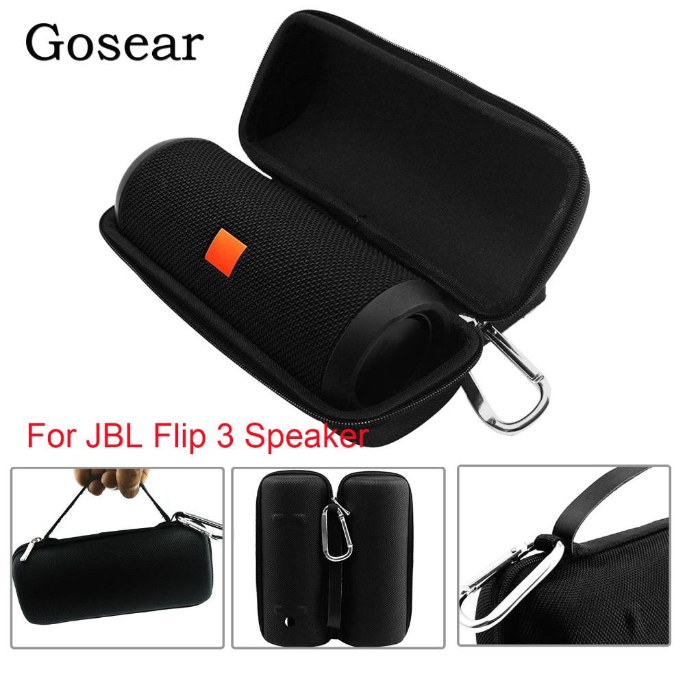 Gosear capa protetora para viagem, portátil, de eva, armazenamento resistente, anti-choque, bolsa para jbl, flip 3, alto-falante acessórios