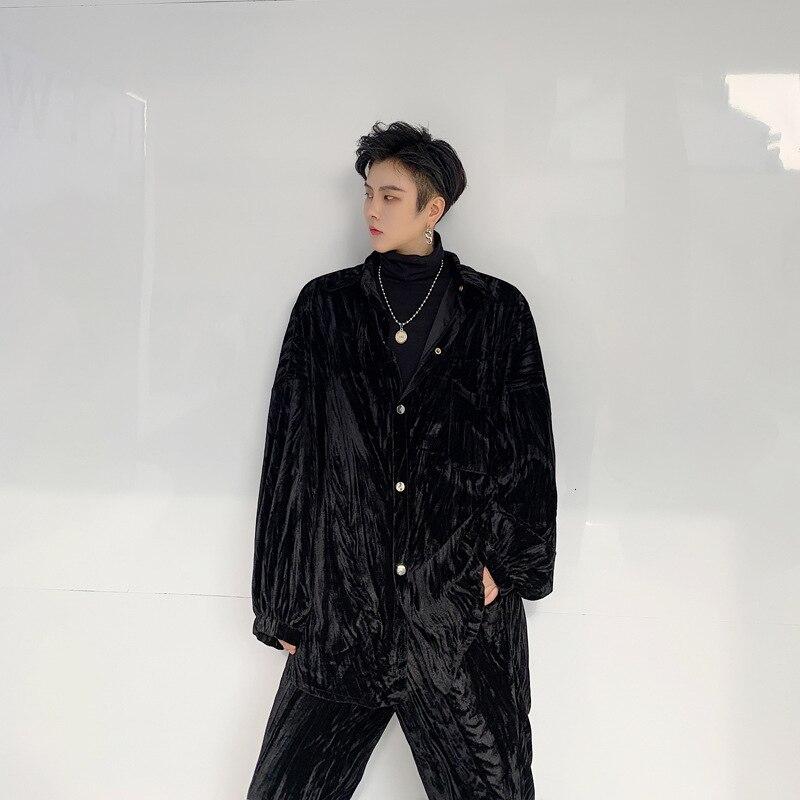 EWQ / 2020 spring fashion new men's set shine Velvet Crumpled Loose long sleeve Coat Pants 2 pieces Suit for male 19H a41 - 2